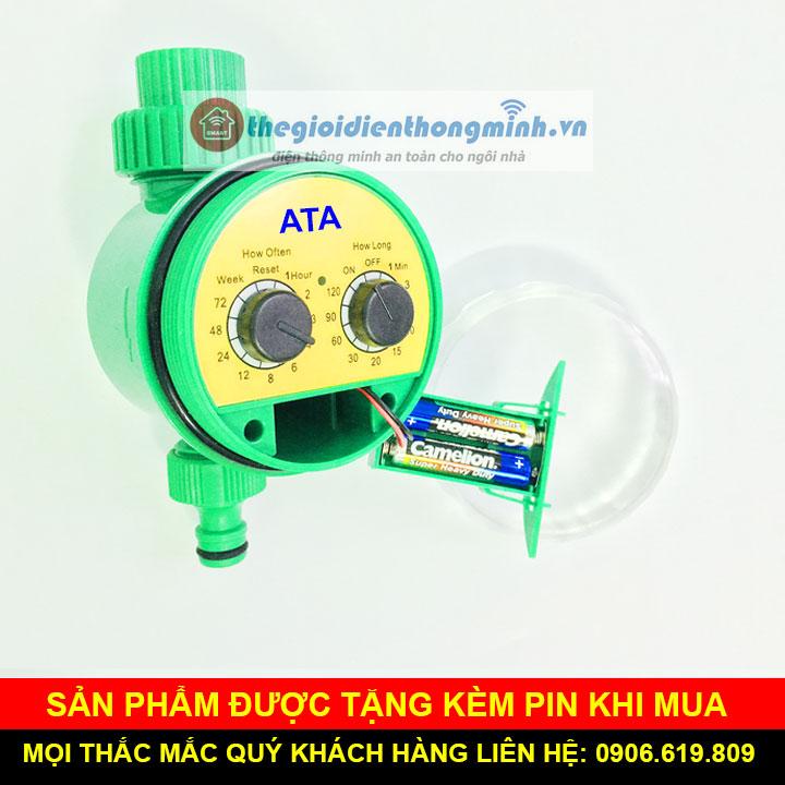 Van nước hẹn giờ tự động tưới cây xả nước tự động dùng pin ATA TĐ1P