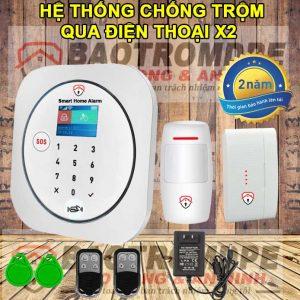 Bộ báo trộm gia đình không dây qua điện thoại dùng sim X2