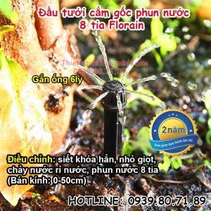 Đầu béc tưới cắm gốc nhỏ giọt 8 tia Florain
