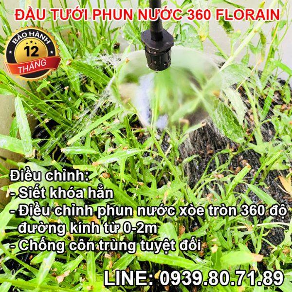 Đầu béc tưới thả gốc phun nước xòe tròn 360 độ Florain