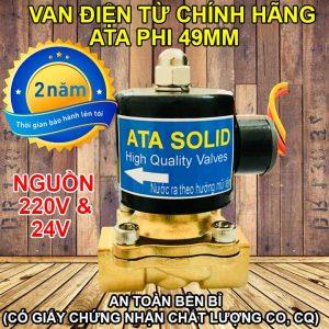 Van nước điện từ ata phi 49mm 24v 220vac thường đóng dùng điện