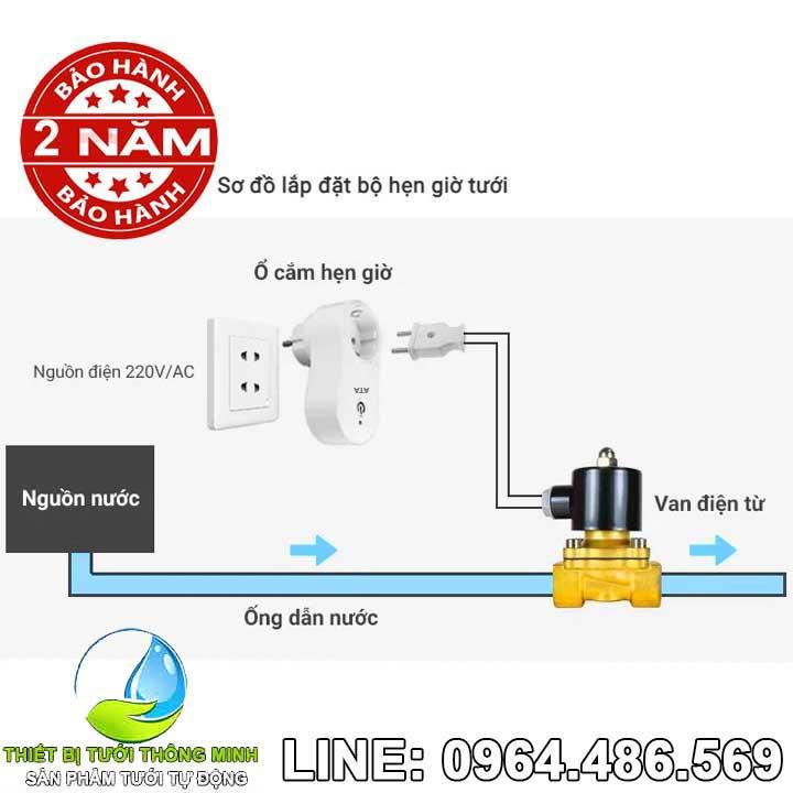 Van điện từ hẹn giờ tưới cây tự động ATA TĐ-02 220VAC